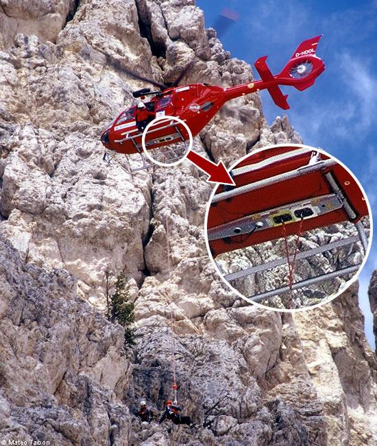 Elicottero Ortisei : Corda fissa attrezzatura speciale elicottero aiut